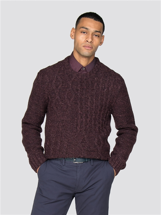 Burgundy Cableknit Crew Jumper