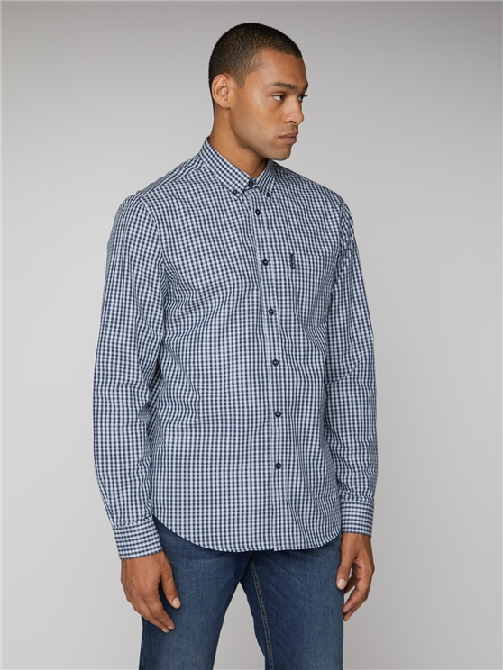 Marine Blue Button Down Gingham Shirt