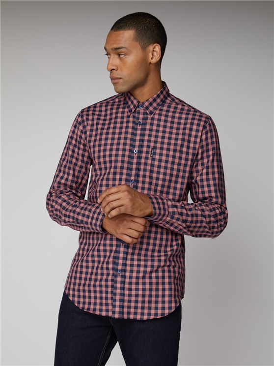 Red & Navy Basket Check Long Sleeve Gingham Shirt