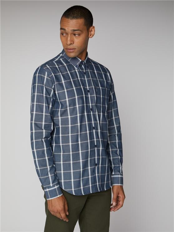 Weave Effect Windowpane Check Shirt