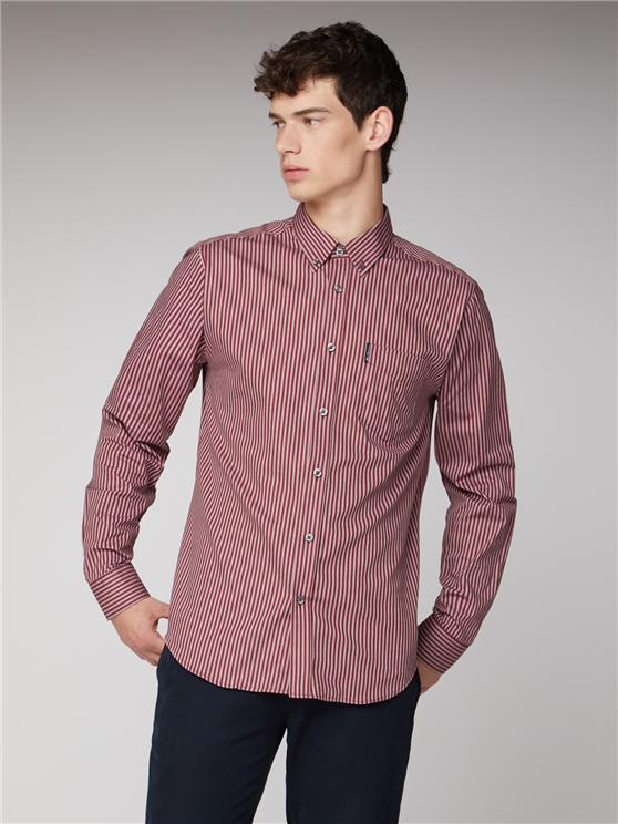 Wine Red Button Down Oxford Bengal Stripe Shirt