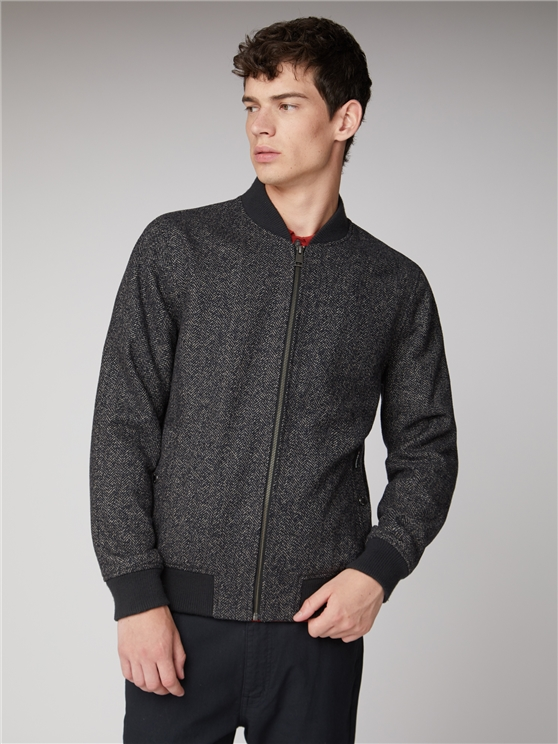 Coffee Herringbone Bomber