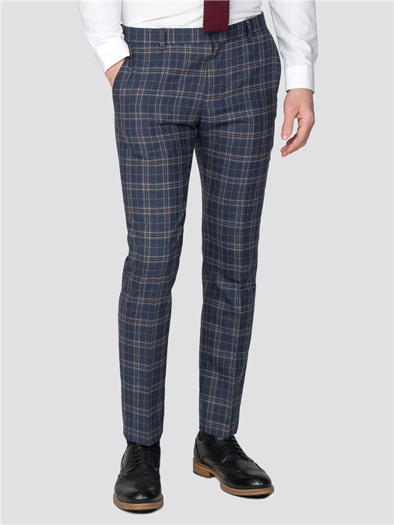 Blue Rust Brushed Check Slim Fit Suit Trousers