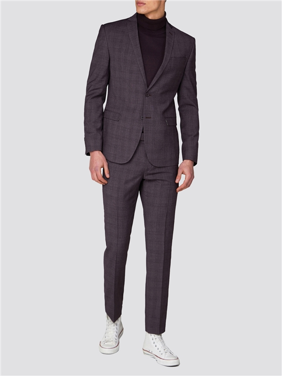 Rust Chambray Check Skinny Fit Suit Jacket