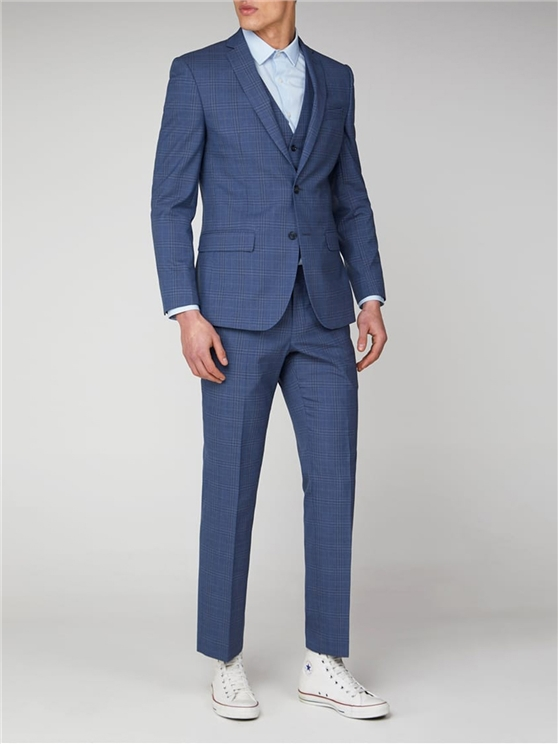 Light Blue Check Tailored Fit Suit Jacket