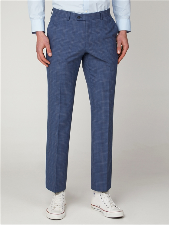 Light Blue Check Tailored Fit Suit Trouser