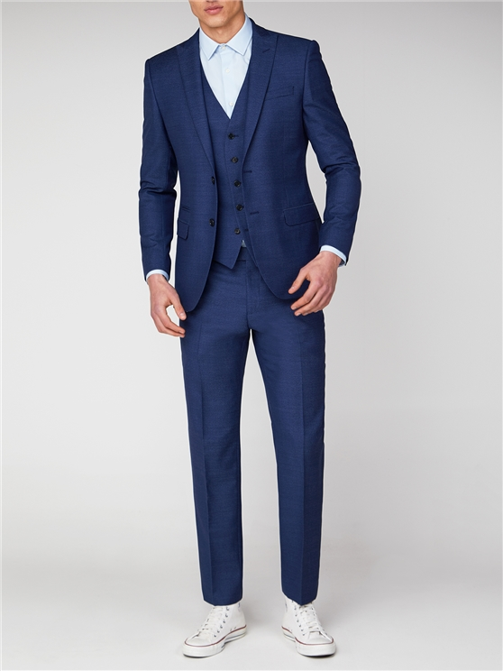 Blue Jaspe Slim Fit Suit Jacket