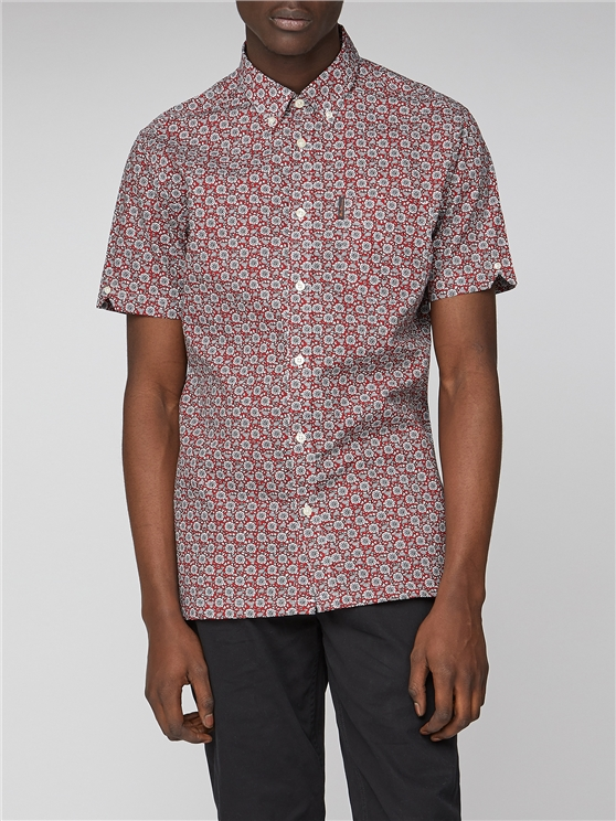 Floral Print Short Sleeve Mod Fit Shirt