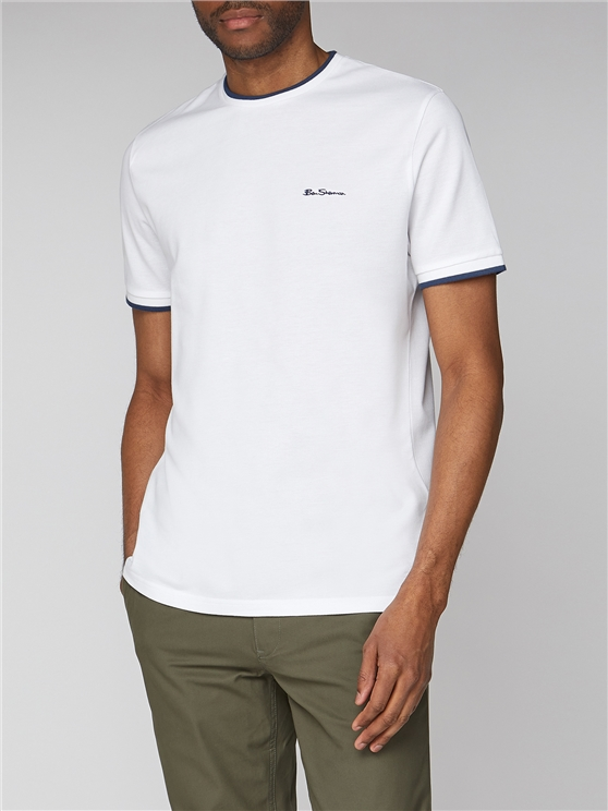 White Pique T-Shirt With Tipping
