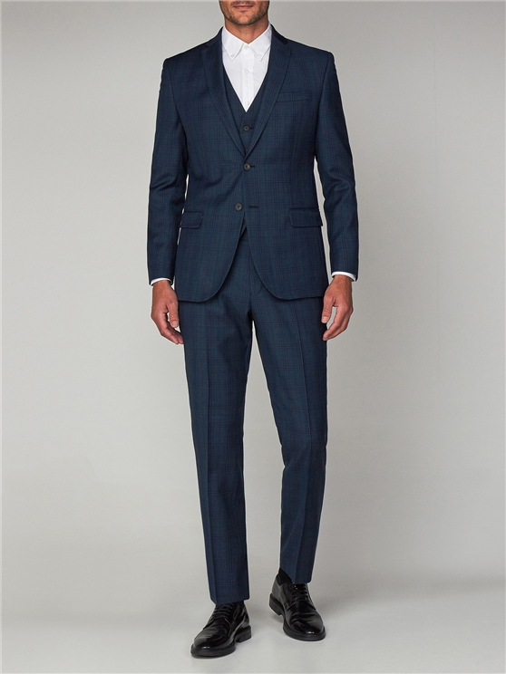 Deep Teal Check Tailored Fit Suit Jacket