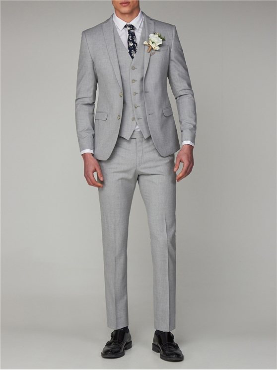 Cool Grey Melange Skinny Fit Suit Jacket