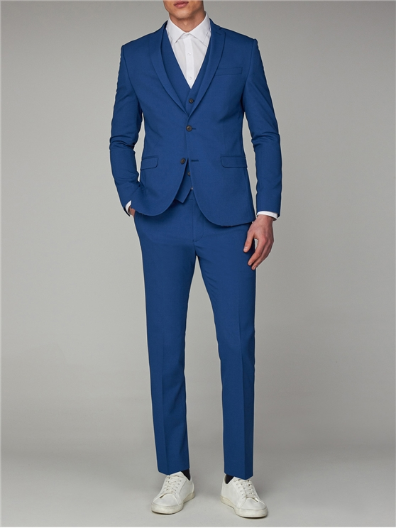 Bright Summer Blue Skinny Fit Suit