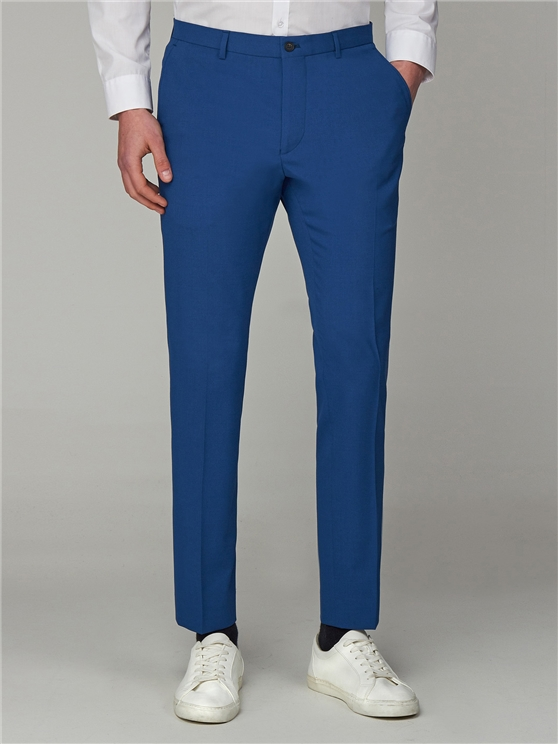 Bright Summer Blue Skinny Fit Suit Trousers