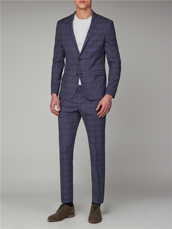 Slate Chambray Check Skinny Fit Suit Jacket