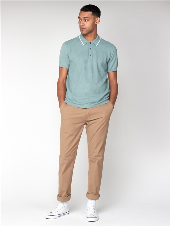 Ben Sherman Mint Textured Front Polo