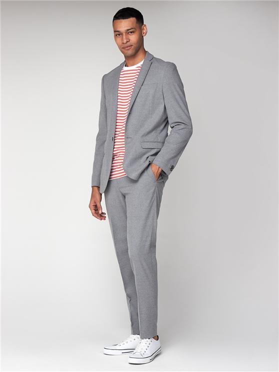 Light Grey Flannel Unsturctured Slim Jacket