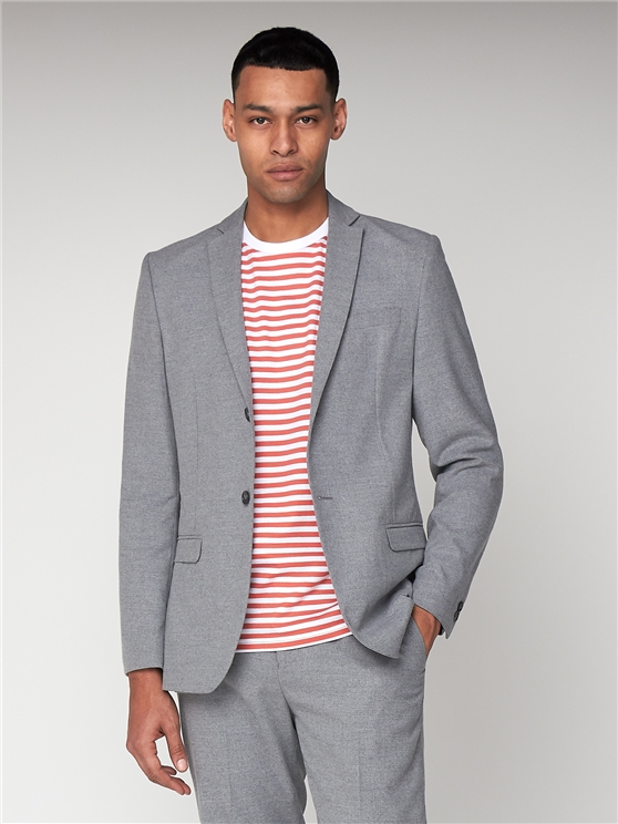 Light Grey Flannel Unstructured Slim Suit