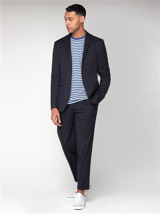 Midnight Navy Unstructured Slim Jacket