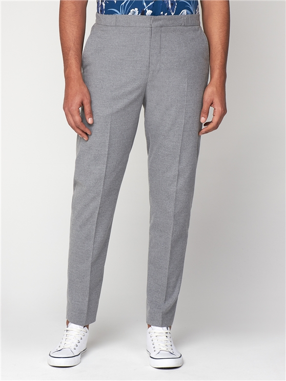 Light Grey Flannel Elasticated Slim Trousers