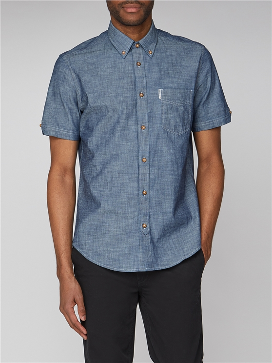 Dark Blue Short Sleeve Chambray Shirt