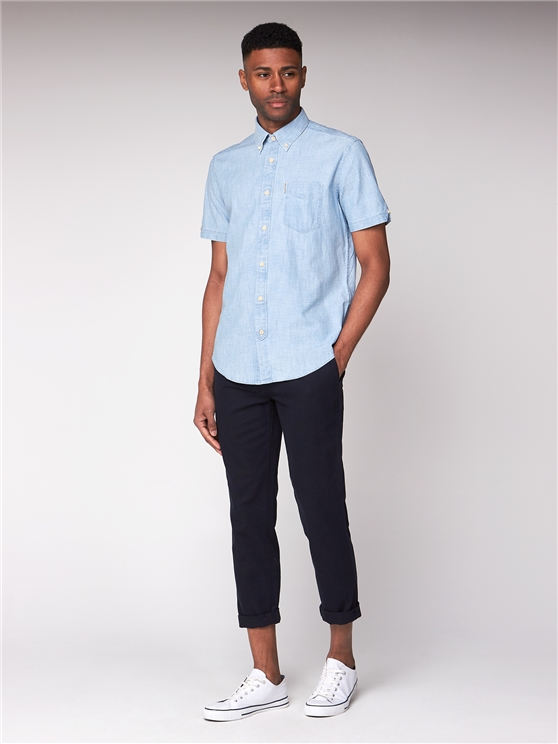 Dusk Blue Short Sleeve Chambray Shirt
