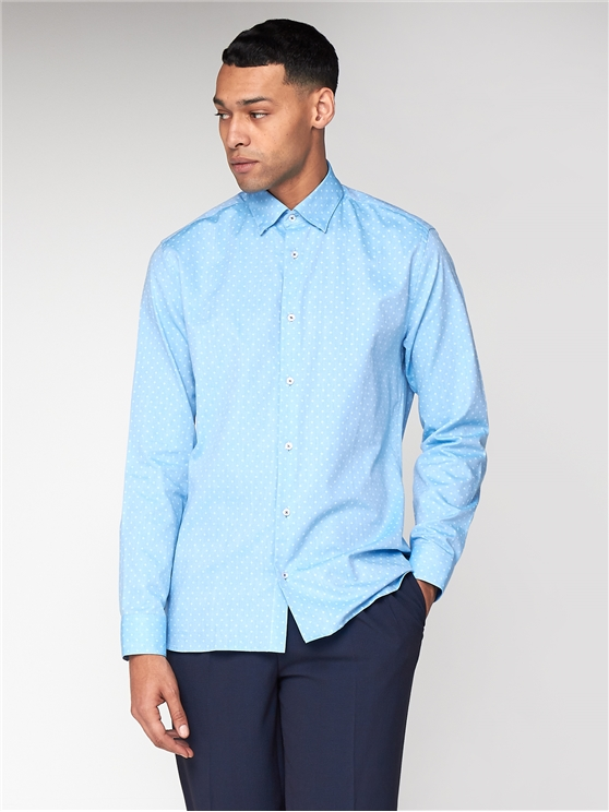 Long Sleeve Geometric Oxford Shirt