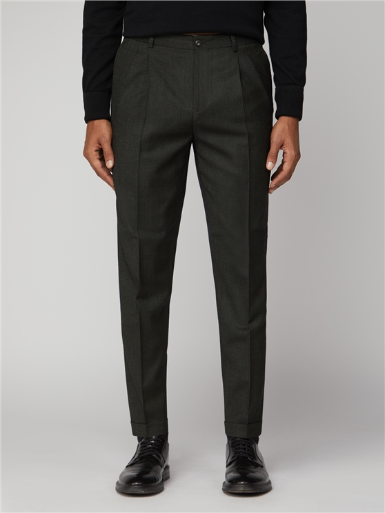 Deep Green Flannel Suit Trouser