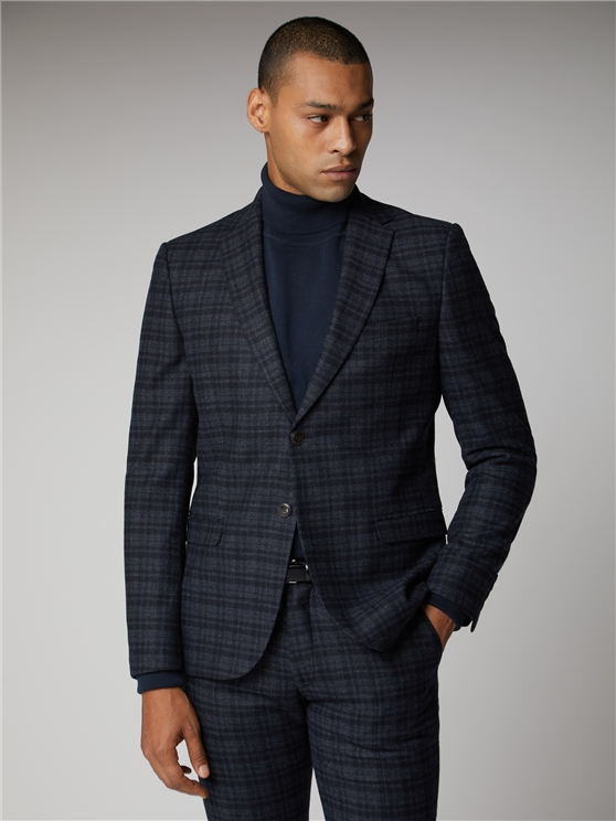 Navy Charcoal Check Suit Jacket
