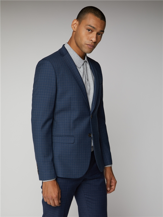 Blue Mod Micro Check Suit Jacket