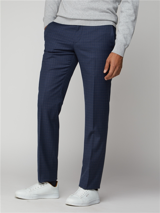 Blue Mod Micro Check Suit Trouser
