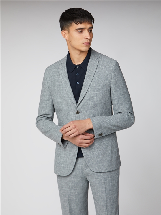 Light Grey Broken Check Suit Jacket