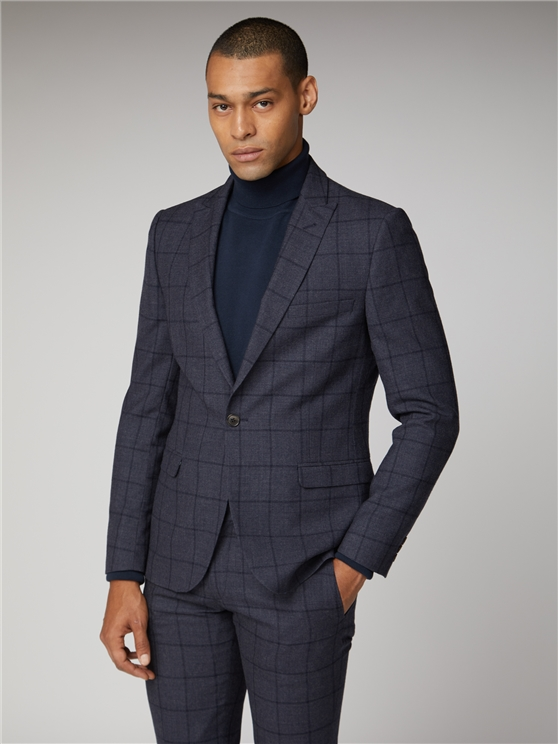 British Slate Windowpane Suit Jacket