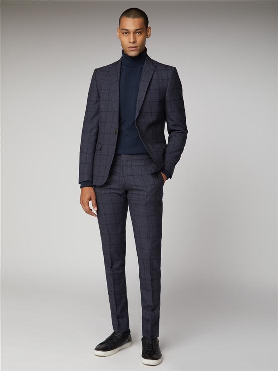 British Slate Windowpane Suit Jacket