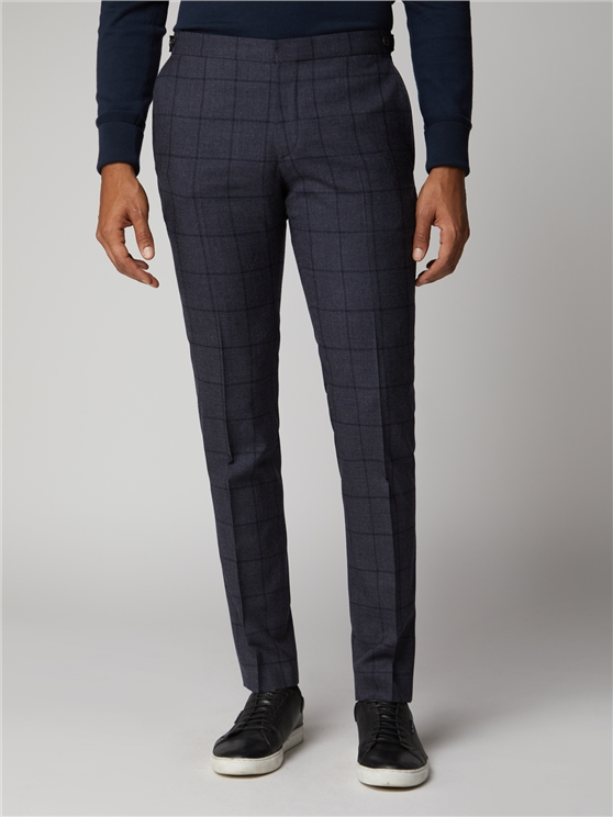 British Slate Windowpane Suit Trousers