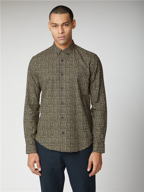 Long Sleeve Abstract Check Shirt
