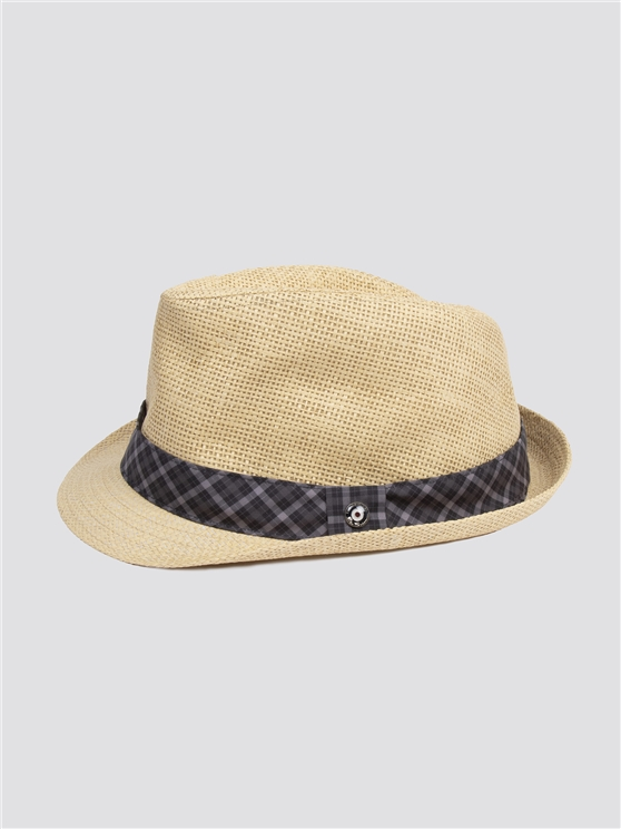Black Check Trilby