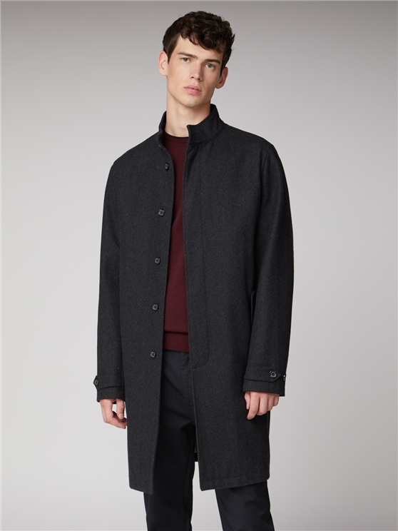 Charcoal Wool Button Up Mac