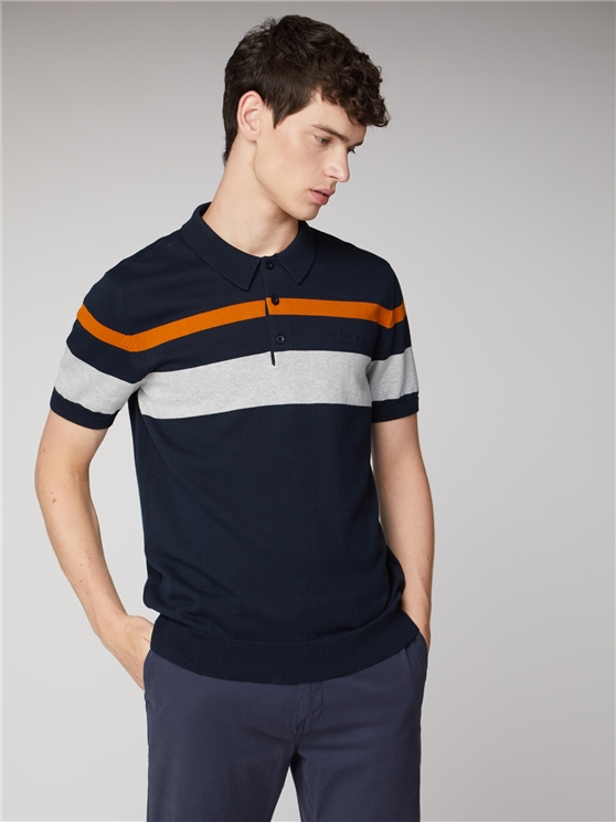 Chest Stripe Knitted Polo