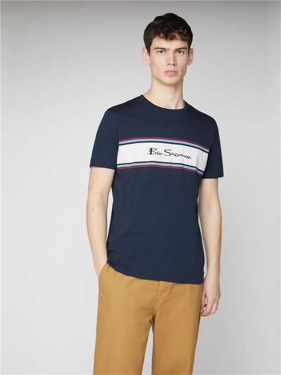 Navy Blue Chest Stripe Logo Print Tee