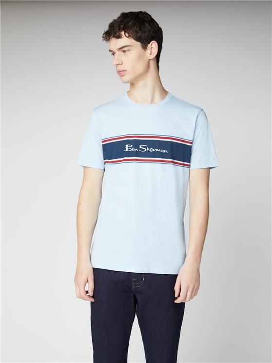 Sky Blue Chest Stripe Logo Print Tee