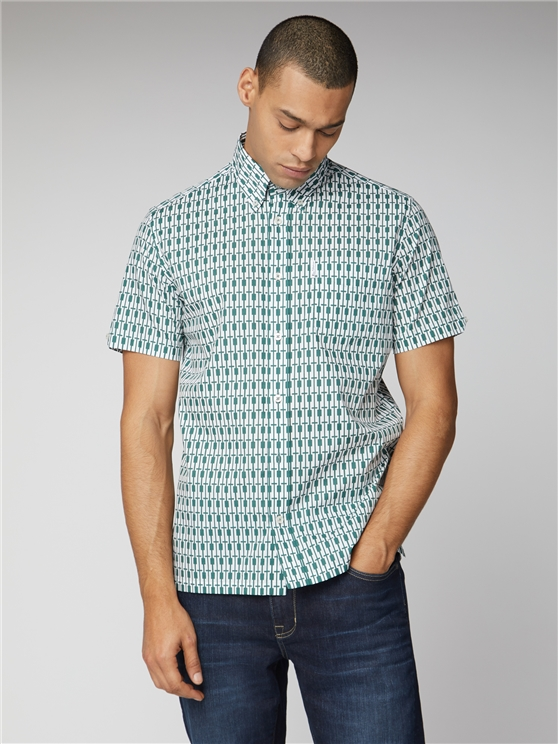 Archive Piper Green Retro Pattern Shirt