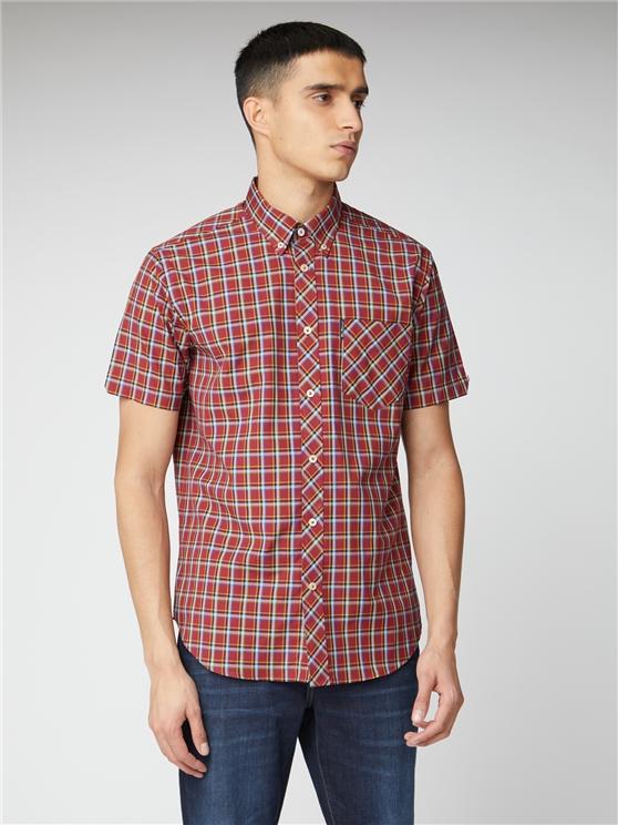 Red Short Sleeve Check Shirt