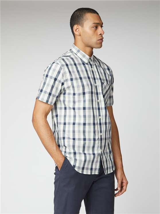 Navy End on End Check Shirt