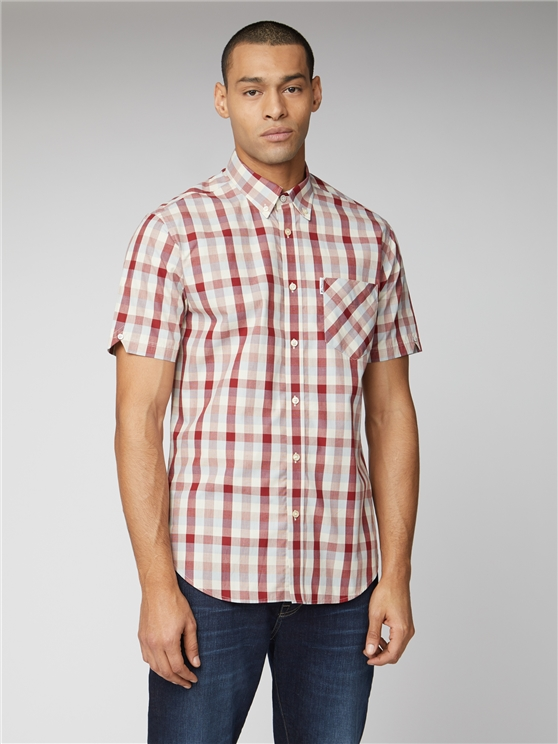 Red Short Sleeve End on End Check Shirt