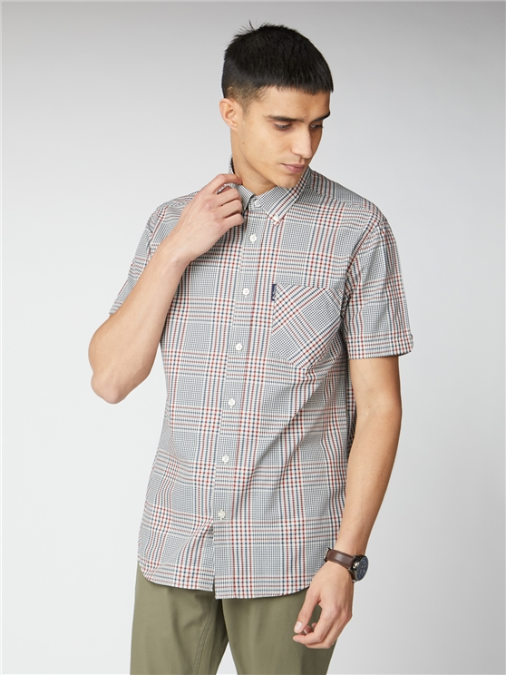 Red Mixed Scale Short Sleeve Check Shirt