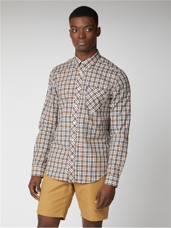 Classic Navy, Red & Dijon Checked Shirt