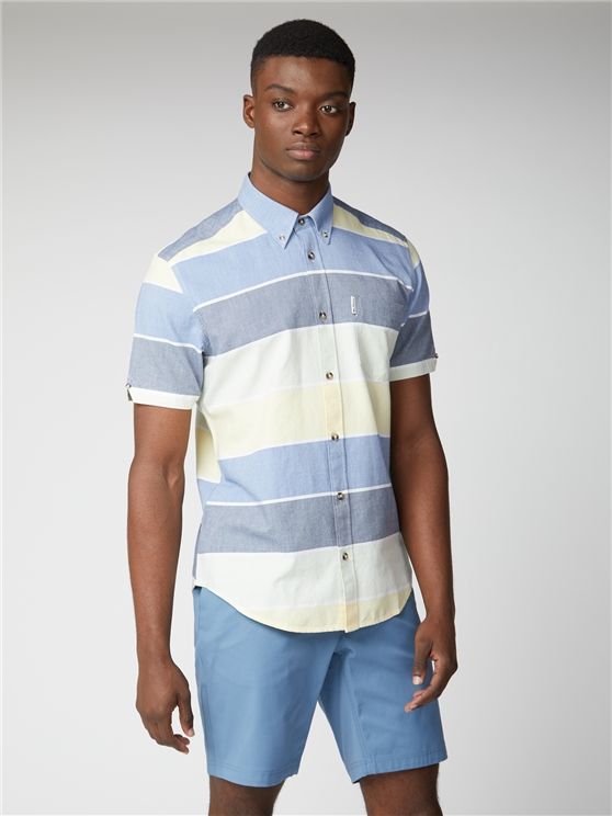 Blue Engineered Stripe Polo Shirt