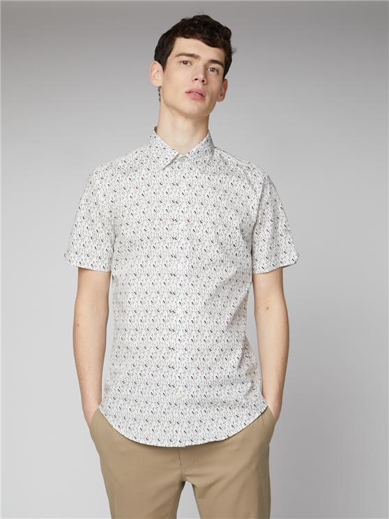 White Digi Print Shirt