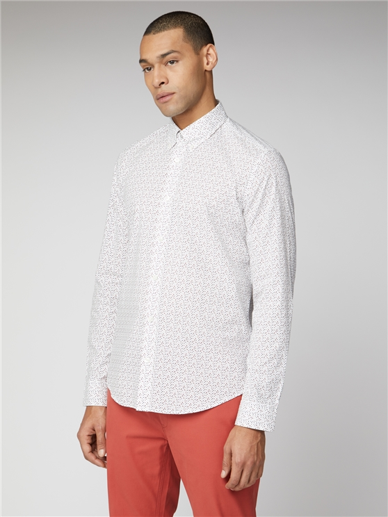 White Long Sleeve Printed Shirt