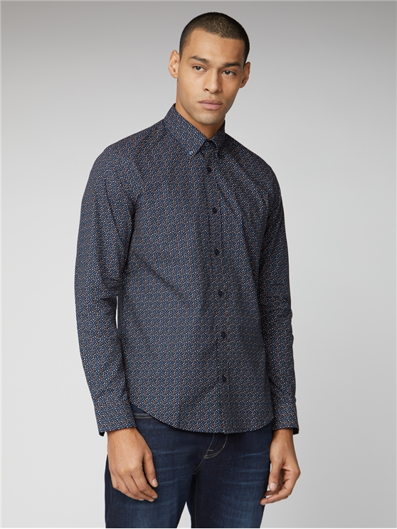 Navy Long Sleeve Printed Shirt